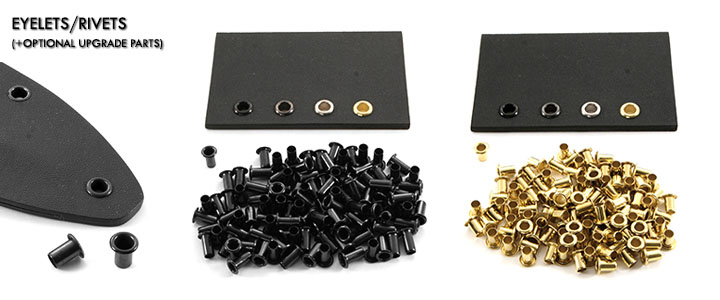 Set of 100 Kydex Holster Eyelets for .080 8-9 1//4 Brass Rivets Kydex Eyelets Tactical DIY Holster Supplies .093 Kydex Brass Finish